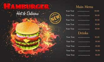 Flaming Burger Menu Template vector