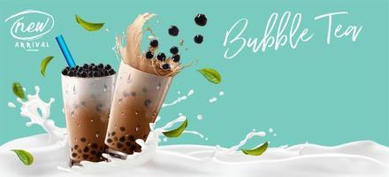 té de burbujas en banner publicitario de salpicaduras de leche vector