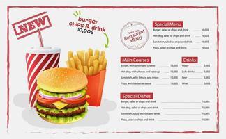 hamburguesa, papas fritas, menú de comida rápida de diseño de bebidas