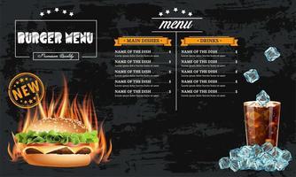 Plantilla de menú de hamburguesas de comida rápida sabrosa vector