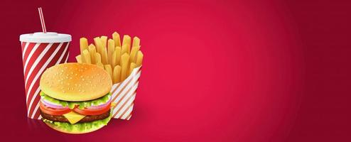 hamburguesa, papas fritas y bebida en banner degradado rojo vector