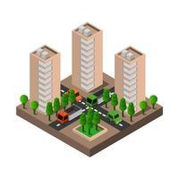 ciudad isométrica sobre fondo blanco vector