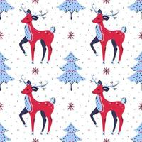 Deers, christmas trees and snowflakes hand drawn seamless pattern vector
