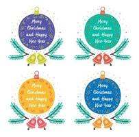 Colorful Christmas ornaments with bells, twigs and lettering
