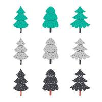 Hand drawn flat christmas trees.