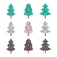 Hand drawn flat christmas trees with decorations