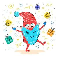 Hand drawn Santa elf with sparklers and presents
