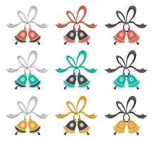 Hand drawn flat jingle bells with ribbons