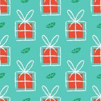 regalos dibujados a mano y hojas de muérdago de patrones sin fisuras vector