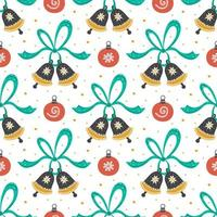 Hand drawn jingle bells, ribbons and christmas toys pattern vector