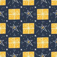 Christmas, New Year gifts and stars seamless pattern