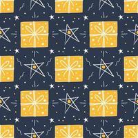 Navidad, regalos de año nuevo y estrellas de patrones sin fisuras