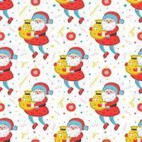 Santa Claus with sack hand drawn seamless pattern