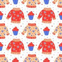 Hand drawn flat sweaters with muffins pattern vector