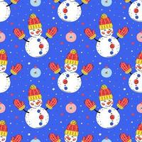Snowmen with christmas tree ornaments hand drawn seamless pattern vector