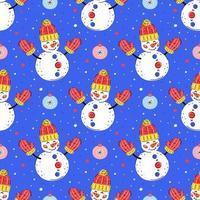 bonecos de neve com enfeites de árvore de natal desenhados à mão padrão sem emenda