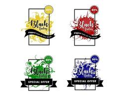Colorful black friday banners with splash concept vector