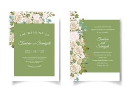 Green wedding invitation with floral borders
