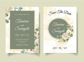 Beautiful wedding invitation with floral arrangements and watercolors