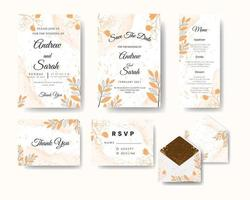 Wedding invitation set with floral line art and watercolor texture