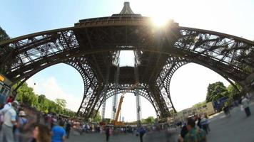 City Pedestrian Traffic Time Lapse Eiffel Tower Fisheye