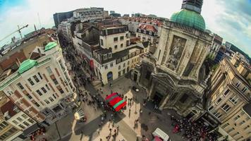 City Pedestrian Traffic Time Lapse Brussels Cityscape Fisheye