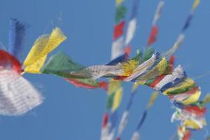 tibet prayer flag in sky photo