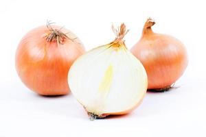 Fresh onions with a half