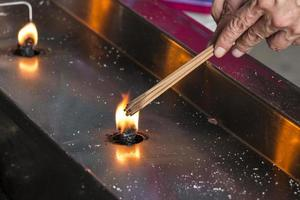 Lighting incense sticks at a temple in Taipei photo