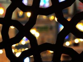Looking through star shape in mosque photo