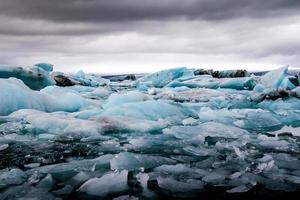 Amazing Jokulsarlon glacial lake full of floating  and melting i