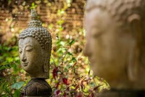 Stone Buddha head statue photo
