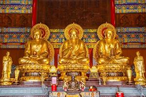 Buddha statues in temple photo
