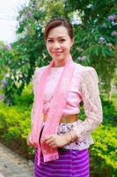 Portrait beautiful girl thai-mon dress