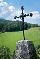 Old cross on the side of the road, Vercors, France