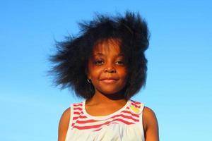 Portrait of a Girl on Blue Sky