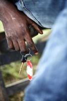 Hand of an African with car keys