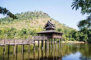 Scripture hall in the pond, Thailand. photo