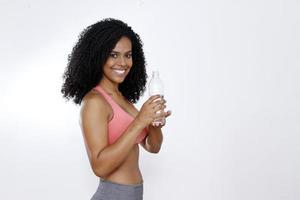 brunette woman wiht bottle of water photo
