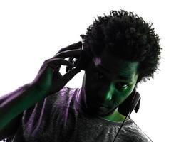 disc jockey man portrait silhouette