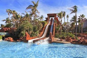 The water slide structure in Paradise Island, Bahamas