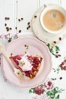 Slice of plum pie photo