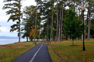 Walking, jogging, running trail through park