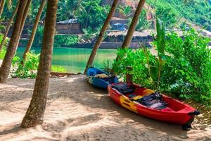 two canoes in shade of tropical palm trees on beach