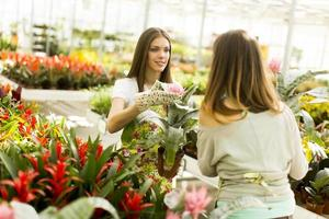 Young women in the flower garden