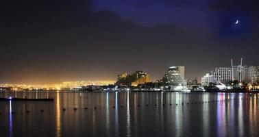 Evening view on Eilat and the Red sea, Israel