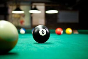 Close up eye level view of billiard balls