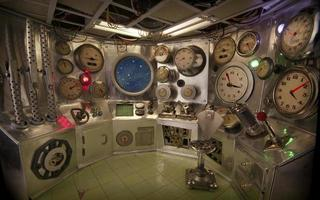 Control room with starry sky