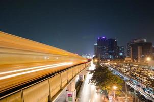 Sky train at night, Bangkok Thailand