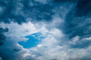 shiny blue sky in dark rainy cloud
